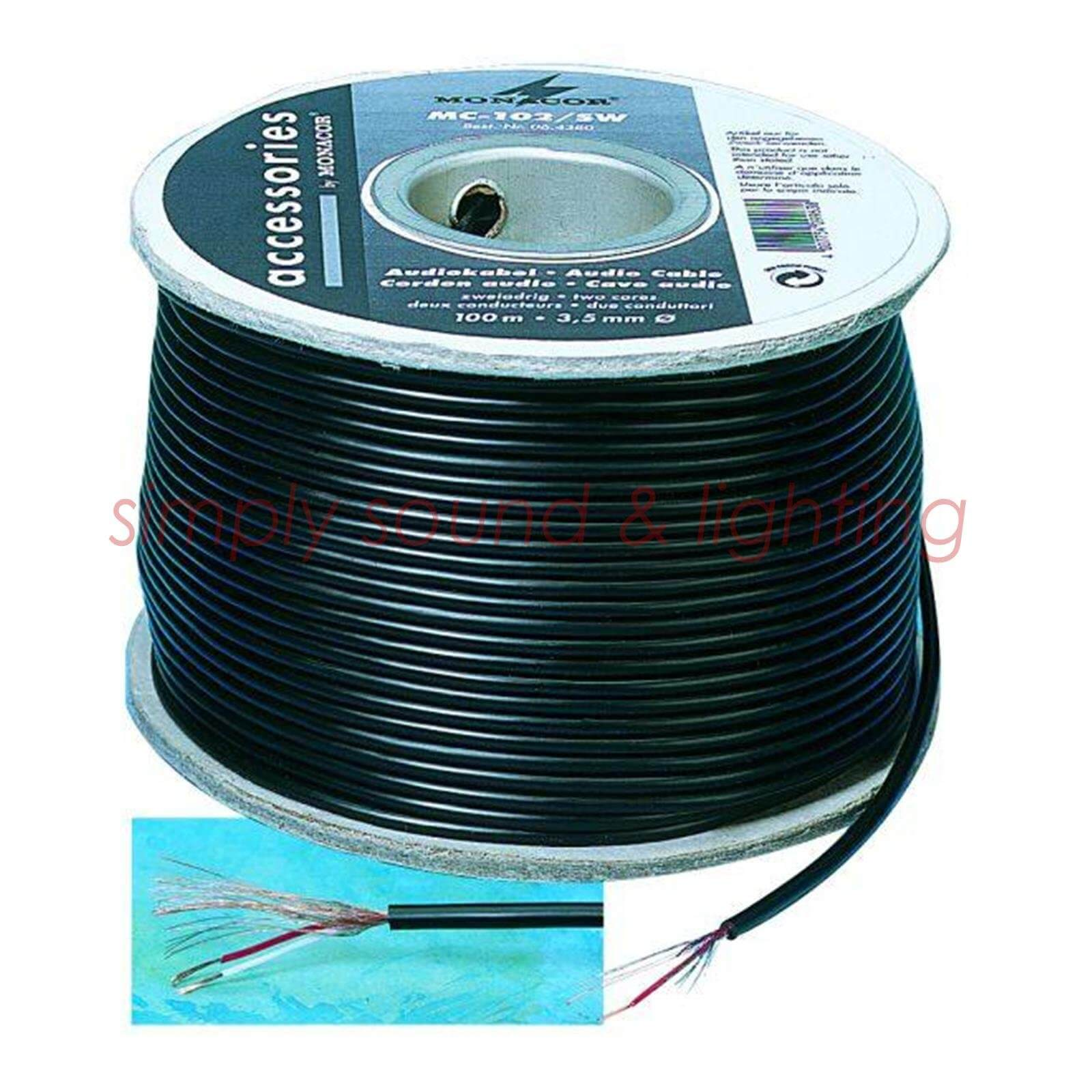 Monacor MC-102/SW 100m Microphone Cable Roll