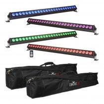 4x Ibiza Light 1M LED Batten inc. Carry Bag & Remote