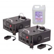 2x Ibiza FOG900-RGB 900W Vertical CO2 Type Effect Smoke Fog Machine DMX