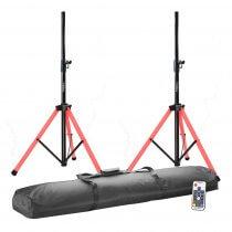 2x Ibiza Sound LED Illuminated Tripod Speaker Stand inc. Carry Bag
