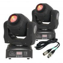 2x Ibiza LMH50LED 60W LED Moving Head Spot DJ Disco Lighting DMX