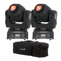 2x Ibiza LMH50LED 60W LED Moving Head Spot DJ Disco Lighting DMX Package