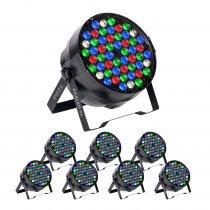 8x Ibiza Light PARLED-54 RGBW LED PAR CANs
