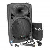 "Ibiza Sound PORT15VHF-BT Portable 15"" 800W Bluetooth PA System inc. Wireless Mics"