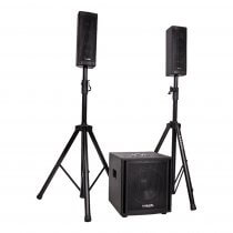 "Ibiza Sound CUBE104 800W 2.1 10"" Sound System PA Active DJ Disco Portable Bundle"