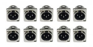 10x Male XLR Chassis Panel Mount (Silver)