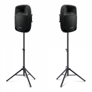 "2x Omnitronic VFM-212 12"" Active PA Speakers inc. Stands"