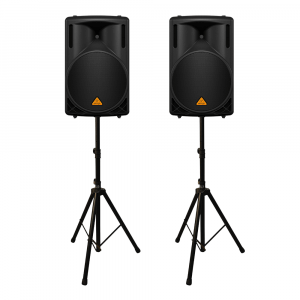 """2x Behringer B215XL 1000W 2 Way 15"""" PA Speakers inc Stands"""