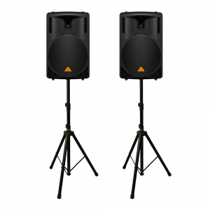 """2x Behringer B212XL 800W 2 Way 12"""" PA Speakers inc Stands"""