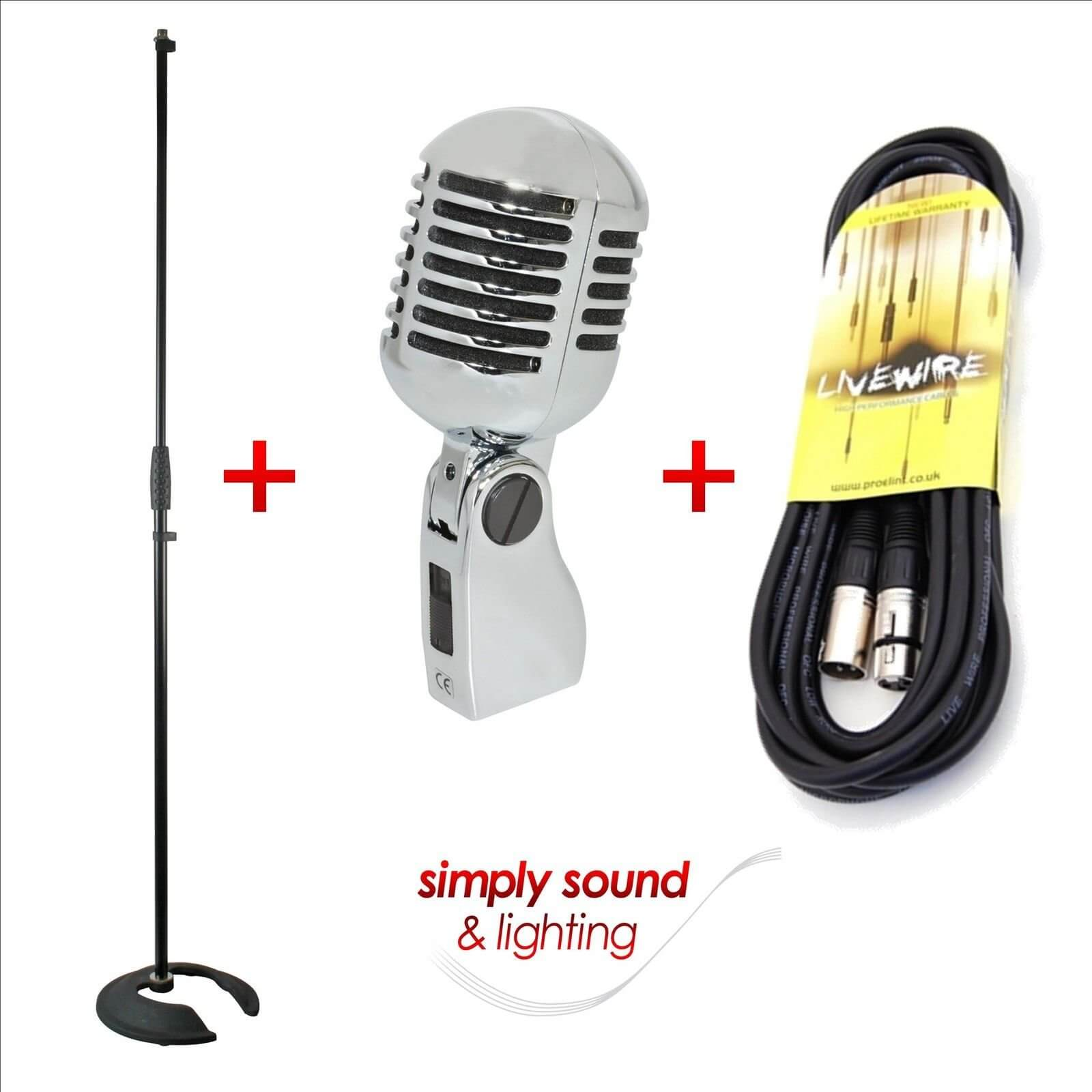 Retro Vintage Silver Style Microphone + Mic Stand & 6m Cable