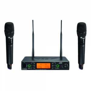JTS UHF PLL Dual Channel Diversity Handheld Wireless Microphone System with REMOSET and BNC antenna
