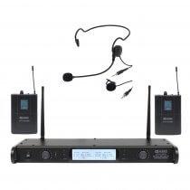 W Audio DTM 800H Twin Beltpack Lapel Headset Radio Microphone Wireless CH70