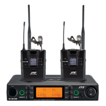 JTS UHF PLL Dual Channel Diversity Lapel Wireless Microphone System with REMOSET and BNC antenna