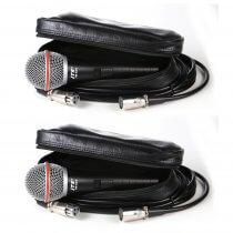 2x JTS TM-929 Handheld Vocal Microphones inc. Leather Pouchs and XLR Cables