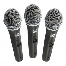 3x JTS TX-8 Dynamic Vocal Performance Microphones inc Clip + XLR Cable