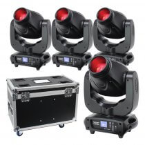 4x eLumen8 Evora 500 Spot LED Moving Head 100W DJ Disco Lighting Package