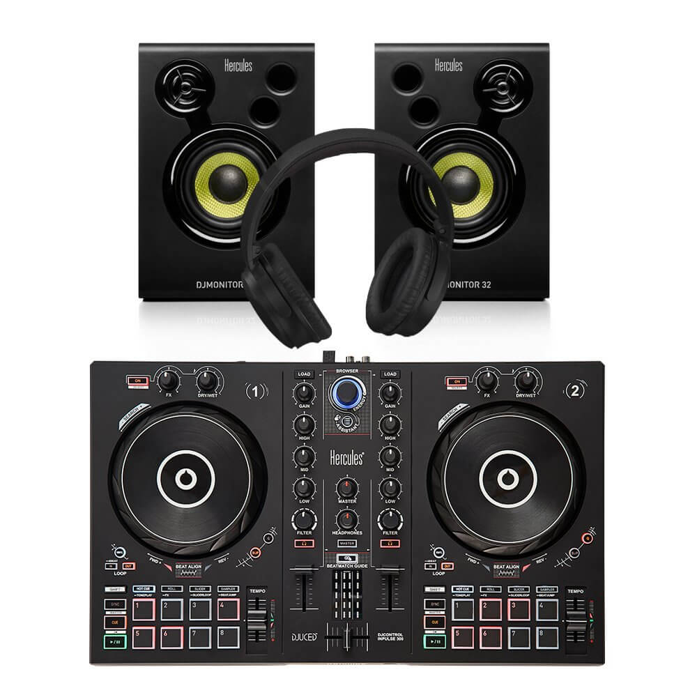 Hercules Inpulse 300 Controller + Monitor Bundle DJ Disco inc Headphones / Leads