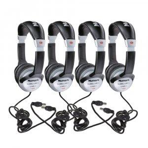 4x Numark HF125 DJ Stereo Headphones Adjustable Disco Studio Learning Music Tech College