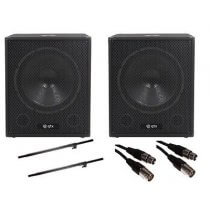 "2x QTX QT15SA 15"" 1200w Active Subwoofers inc. Speaker Poles and Cables"
