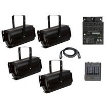 4x Showtec Fresnel Stage Spots inc. Cable, DMX Mixer and Dimmer