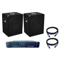 """2x Omnitronic BX-1250 12"""" 600w Subwoofer inc. Amplifier and Cables"""