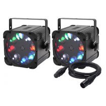2x Equinox Crossfire XP Gobo Projector inc. DMX Cable Bundle