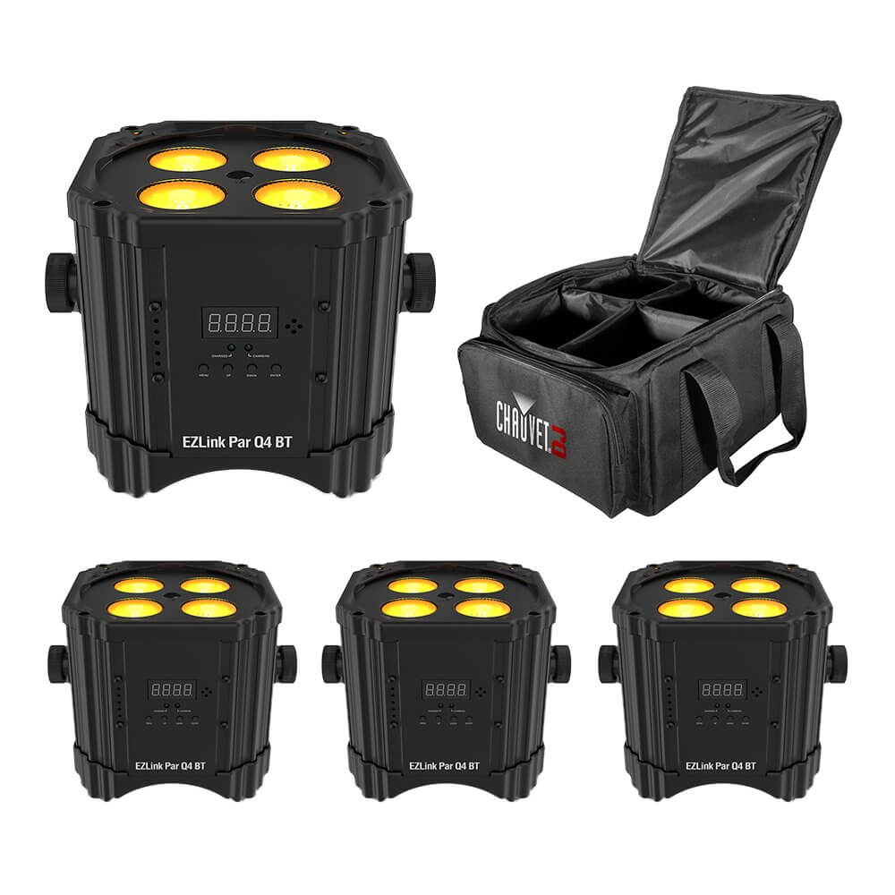 4x Chauvet DJ EZLINK PAR Q4BT Battery LED Uplighter Bluetooth Wireless Control from App