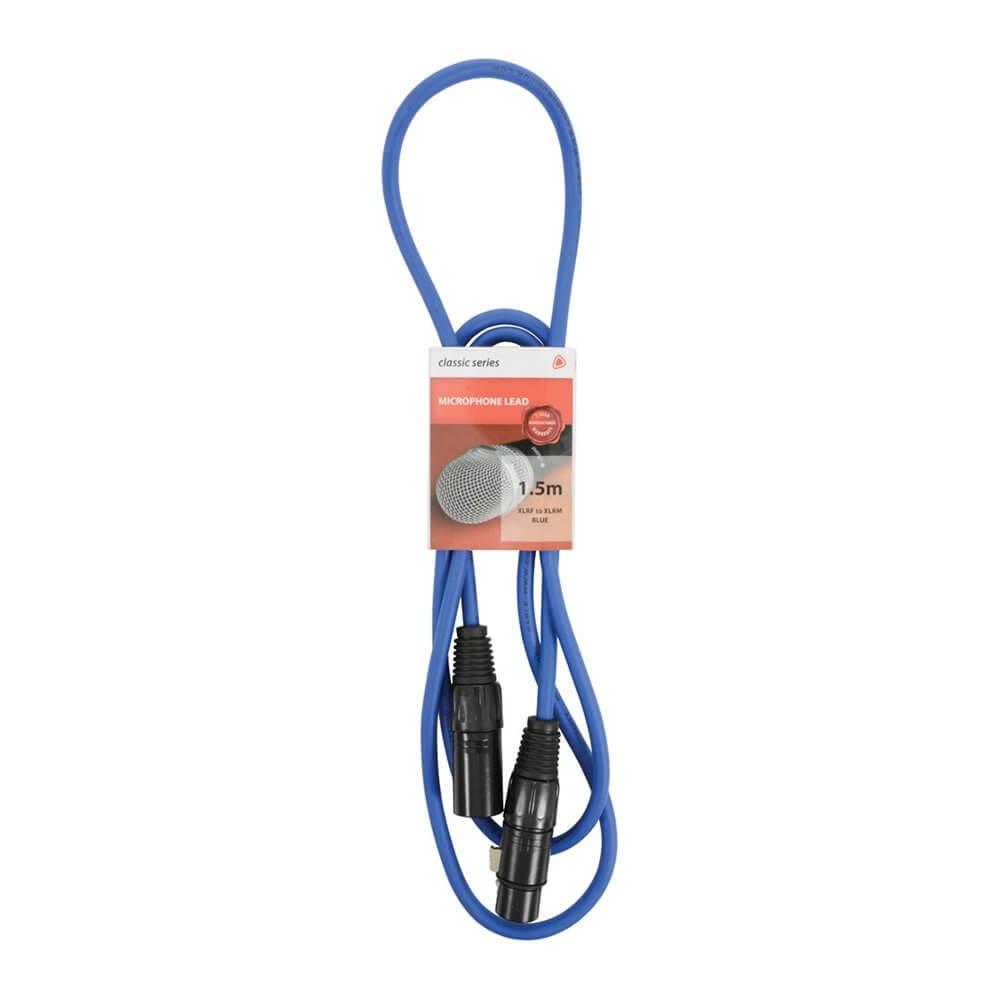 Chord 1.5m Professional High Quality Balanced 3Pin XLR Cable (Blue)
