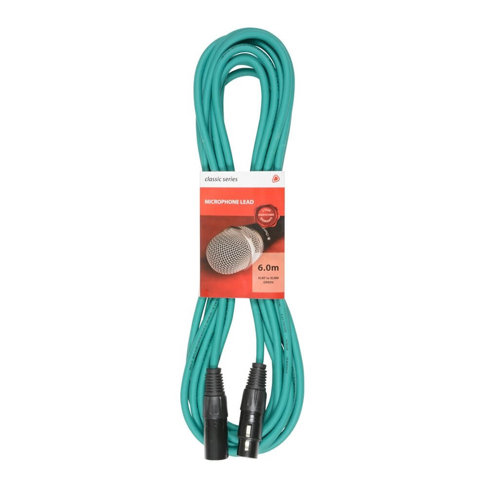 Chord 6m Professional High Quality Balanced 3Pin XLR Cable (Green)