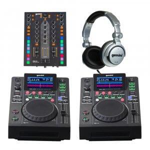 2x Gemini MDJ-600 + PMX-10 Mixer DJ CD Player Starter Package inc Headphones Disco