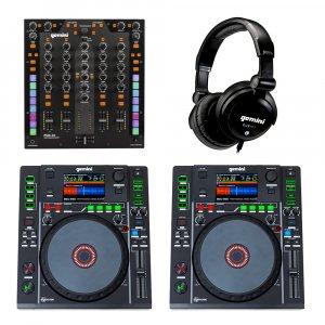 2x Gemini MDJ-900 + PMX-20 Mixer DJ Media Player Package inc Headphones Disco