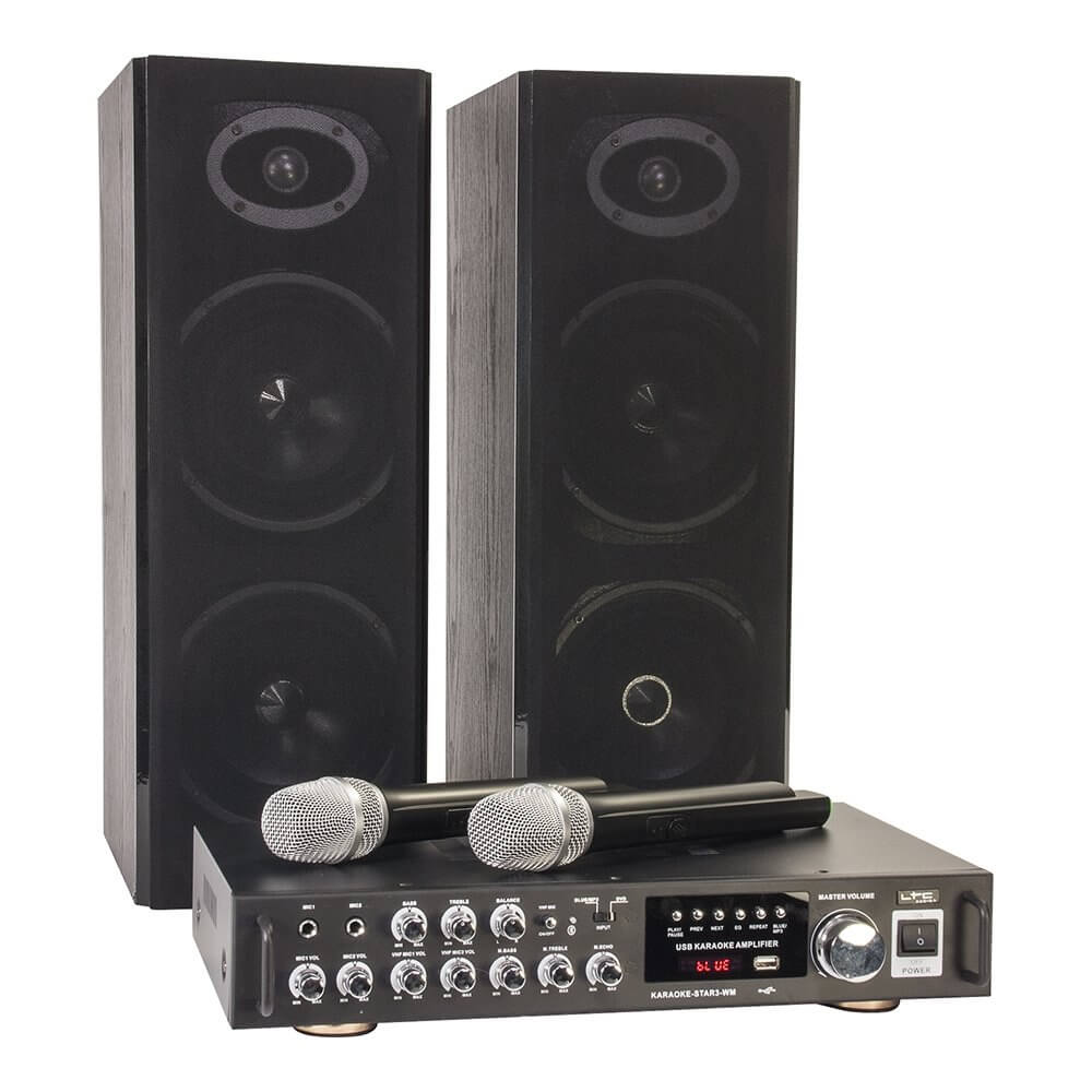 LTC Karaoke Sound System 200W USB SD 2x Wireless Mic