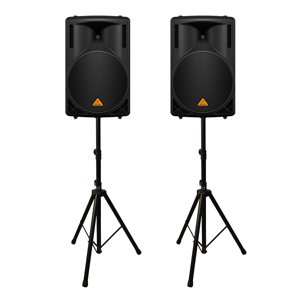 "2x Behringer B215XL 1000W 2 Way 15"" PA Speakers inc Stands"