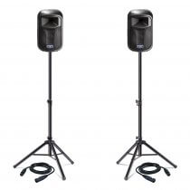 "2x FBT J8A J Series 8"" Active Speakers (Black) inc. Stands and Cables"