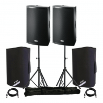 "2x FBT Xlite 15"" 1000w Active Speakers inc. Padded Covers, Stands & Carry Bags and Cables"