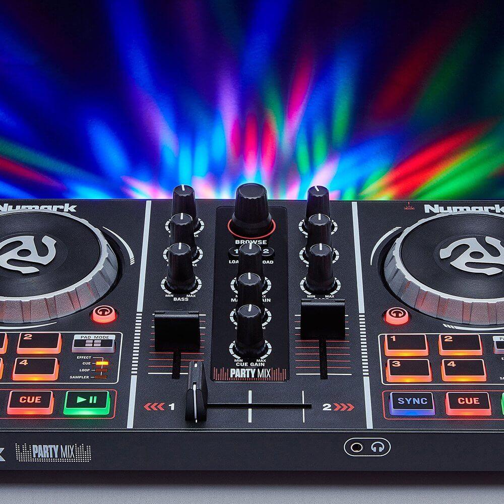 Numark PartyMix DJ Controller + Studio Monitor Speakers/ Headphones DJ  Bundle