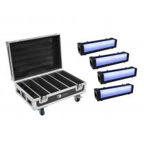4x Eurolite AKKU Bar-6 6 x 8W RGBW LED Tiltable Batten Mood Lighting Battery + Case