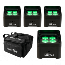 4x Eurolite LED TL-4 QCL RGB+UV Uplighter Package