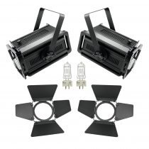 2x Eurolite Theatre Spot Fresnel Spotlight 300W/500W Lighting School Theatre Package