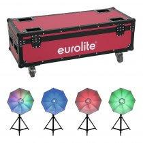4x Eurolite LED Umbrella 95 Lighting Effect inc. Roadinger Flightcase