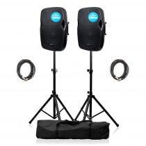 2x Kam RZ12A V3 Active 1000W Speaker DJ Disco Sound System PA Bundle