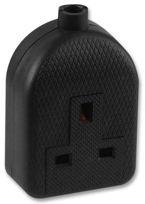 Single Mains Socket 13amp Black Plastic