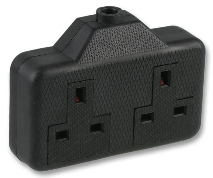 Dual Mains Socket 13amp Black Plastic