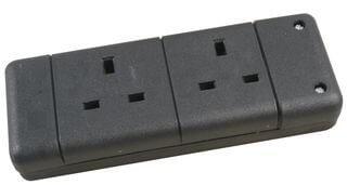 PRO ELEC  9148 BLACK  2 Way Extension Socket, Black