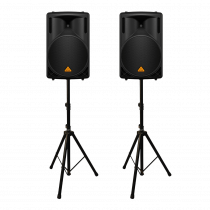 "2x Behringer B212XL 800W 2 Way 12"" PA Speakers inc Stands"