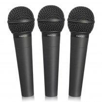 3x Behringer XM8500 Ultravoice Microphones inc Carry Case & Clips