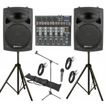 """QTX 800W, 6 Channel PA System with 12"""" Active Speakers"""