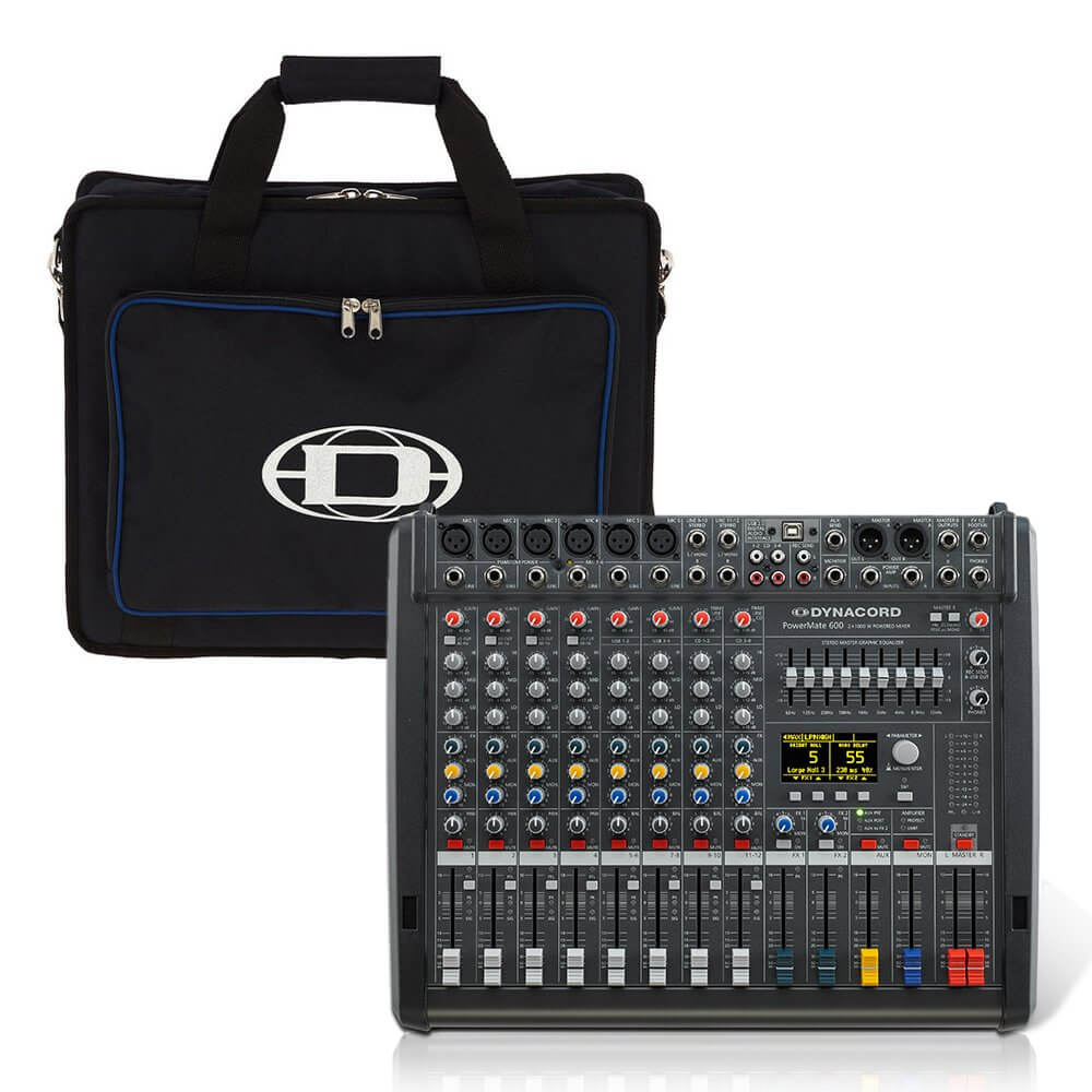Dynacord PowerMate 600-3 8CH Powered Mixer Mixing Desk 2000W FX USB inc Bag