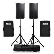 "2x Alto TS312 2000W Active 12"" Speaker PA System inc Covers & Stands DJ Disco Bundle"