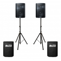 "Alto TX208 Active 8"" Speaker Package DJ Disco Karaoke inc Stands & Covers"